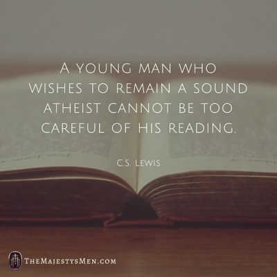 young man atheist reading c s lewis image quote
