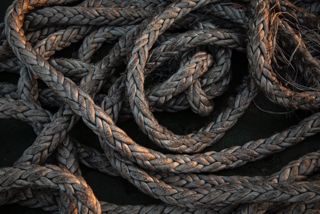 photo of multi-strand rope in a pile