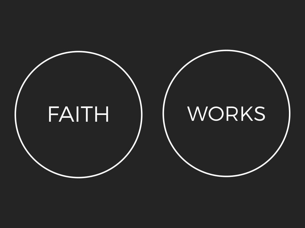 Faith and Works Message slide one from Riley Adam Voth